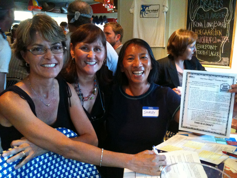 GLEE is proud to be a Fiscal Sponsor of the Got Your Bags – Florida Keys Program.  GLEE Board Member Jackie Grasley (left) with Dolly Garlo and Shirley Gun, Got Your Bags – Florida Keys sealing the partnership in August 2012.